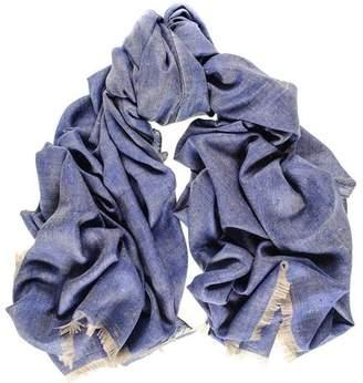 Black Denim Blue Melange Cashmere Ring Shawl