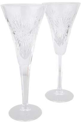 Waterford Pair of Millennium Health Champagne Flutes