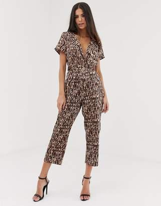 UNIQUE21 animal print tailored jumpsuit