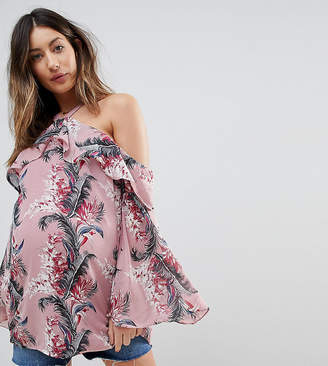 Glamorous Bloom COLD Shoulder Top With Ruffle Layer In Palm Floral