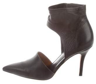Vince Leather Cutout Ankle Boots