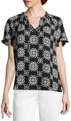 Liz Claiborne Womens Split Crew Neck Short Sleeve Ruffled Blouse