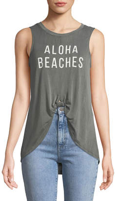 Knit Riot Aloha Tie-Front Muscle Tee