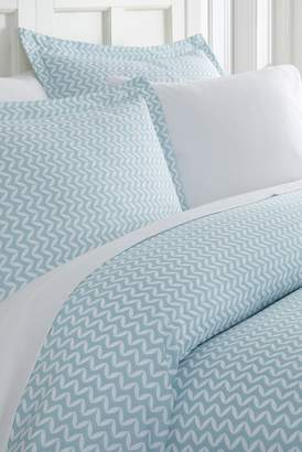 IENJOY HOME Home Spun Premium Ultra Soft 3-Piece Puffed Chevron Print Duvet Cover King Set - Light Blue