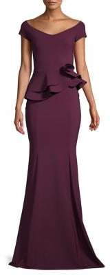 Chiara Boni Off-The-Shoulder Ruffle-Waist Gown