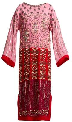Saloni Maki Embroidered Silk Kaftan - Womens - Pink Multi