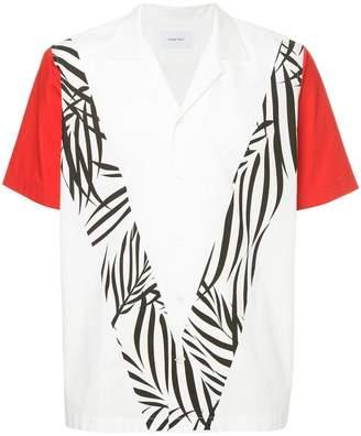 Ports V colour block and leaf print shirt