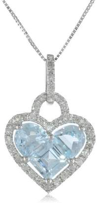 10k White Gold Half Moon and Princess Aquamarine Heart and Diamond-Accent Pendant Necklace (1/5 cttw