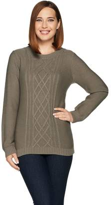 Susan Graver Cable Knit Long Sleeve Crew Neck Sweater