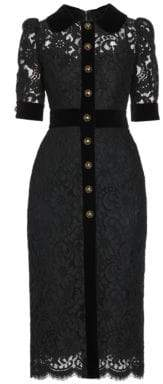 Dolce & Gabbana Lace & Velvet Button-Front Dress
