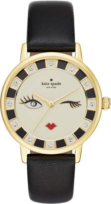 Kate Spade metro wink black leather watch