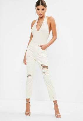 Missguided Off-White High Waisted Pearl Ripped Jeans