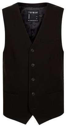 Topman Mens Black Textured Ultra Skinny Waistcoat
