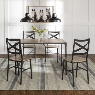 Manor Park Angle Iron 5 Piece Dining Table Set - Driftwood