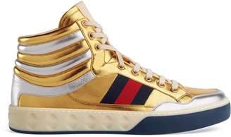Gucci Metallic leather high-top sneaker