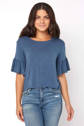 Juniper Blu Ruffle Sleeve Hi-Lo Crop Top