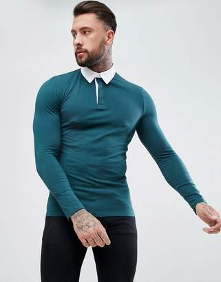 Asos DESIGN muscle fit rugby polo shirt with long sleeve in green