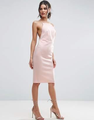 Asos Design High Neck Strappy Scuba Midi Bodycon Dress