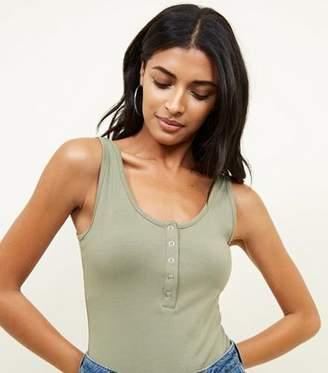 New Look Olive Scoop Neck Popper Front Bodysuit