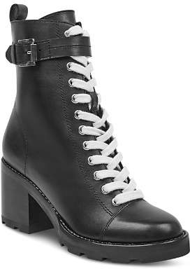 Marc Fisher Women's Waren Round Toe Lace Up Leather Boots