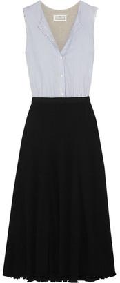 Maison Margiela - Paneled Cotton-poplin And Jersey Dress - Gray $1,295 thestylecure.com