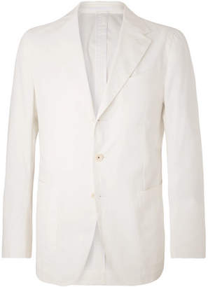 Caruso White Butterfly Unstructured Stretch-cotton Suit Jacket - White