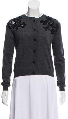 Lanvin Lace-Trimmed Wool Cardigan