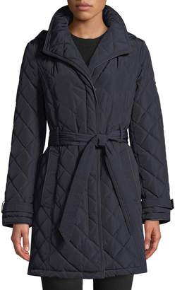 Donna Karan Belted Quilted Long-Jacket