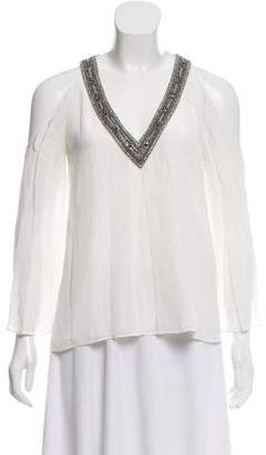 Alice + Olivia Long Sleeve Cold-Shoulder Top