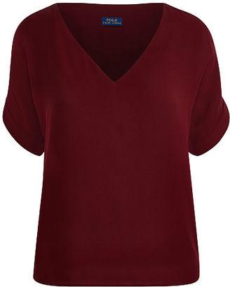 Polo Ralph Lauren Silk Georgette V-Neck Shirt $165 thestylecure.com