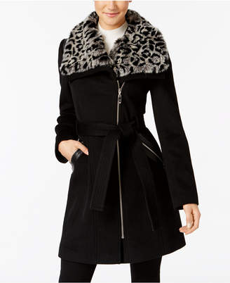 89f97545f265 Up To 20% Off  SHOP at Macy s · Via Spiga Faux-Fur-Collar Asymmetrical  Belted Coat