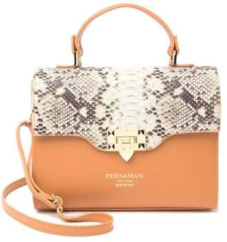 Persaman New York Eufemia Snake-Embossed Leather Satchel Bag