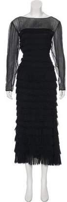 Pierre Balmain Long Sleeve Maxi Dress