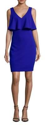 Badgley Mischka Belle Ruffle V-Neck Sheath Dress