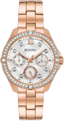 Bulova Women's Rose Gold-Tone Stainless Steel Bracelet Watch 35mm 98N108, A Macy's Exclusive Style $350 thestylecure.com