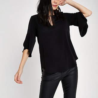River Island Black frill sleeve blouse