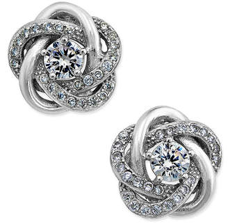 Giani Bernini Cubic Zirconia Love Knot Stud Earrings in Sterling Silver and 18k Gold-Plated Sterling Silver