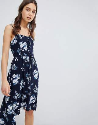Hollister Floral Print Midi Dress with Lace Detail