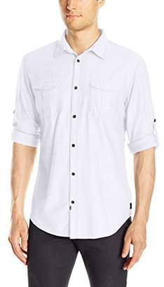 Calvin Klein Jeans Men's Herringbone Military Long Sleeve Button Down Shirt