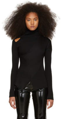 Yang Li Black Knit Shoulder Exposure Turtleneck
