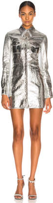 Calvin Klein Metallic Leather Western Shirt Dress in Silver | FWRD