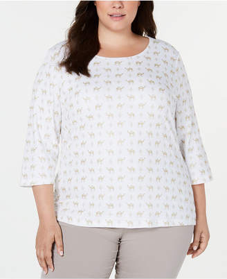 Karen Scott Plus Size Foil-Print 3/4-Sleeve Top
