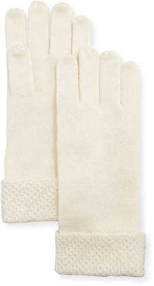 Sofia Cashmere Touch-Screen Gloves w/ Honeycomb-Knit Cuffs
