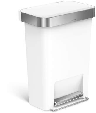 Simplehuman 45L Rectangular Step Trash Can White