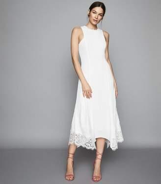 Reiss ROMI LACE DETAILED MIDI DRESS White