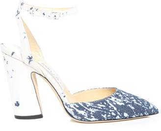 Jimmy Choo MICKY 100 Denim and White Bleached Denim Pointy Toe Pumps