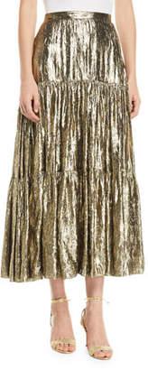 Michael Kors Crushed Metallic Silk Tiered Long Skirt