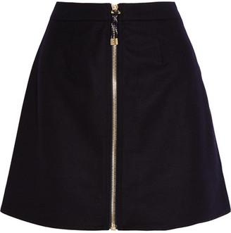 Acne Studios - Prisca Wool-blend Twill Mini Skirt - Midnight blue $350 thestylecure.com