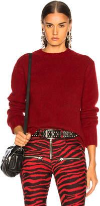 Helmut Lang Long Sleeve Brushed Crewneck Sweater in Scarlet | FWRD