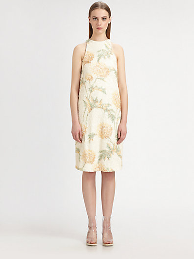 Suno Sleeveless Floral-Print Sequin Dress